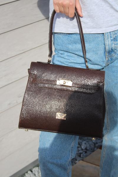 Artikelbild 1 des Artikels braune Lederhandtasche Kelly Bag in Schlangenprägung