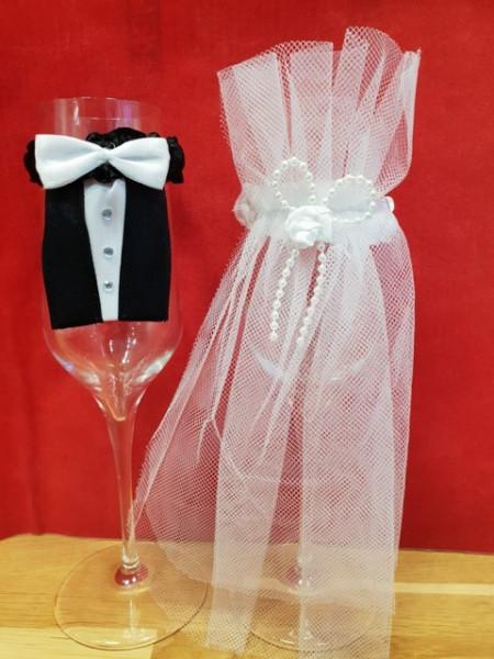 Artikelbild 1 des Artikels Verzierung für Sektgläser Braut und Bräutigam
