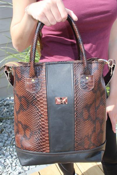 Artikelbild 1 des Artikels braun-schwarze Lederhandtasche